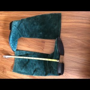 Saks Fifth Avenue Shoes - Saks Fifth Ave Green Suede boots SZ 8 1 inch heel